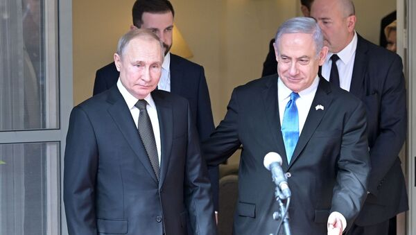 Ruský prezident Vladimir Putin a izraelský premiér Benjamin Netanjahu v Tel Avivu - Sputnik Česká republika