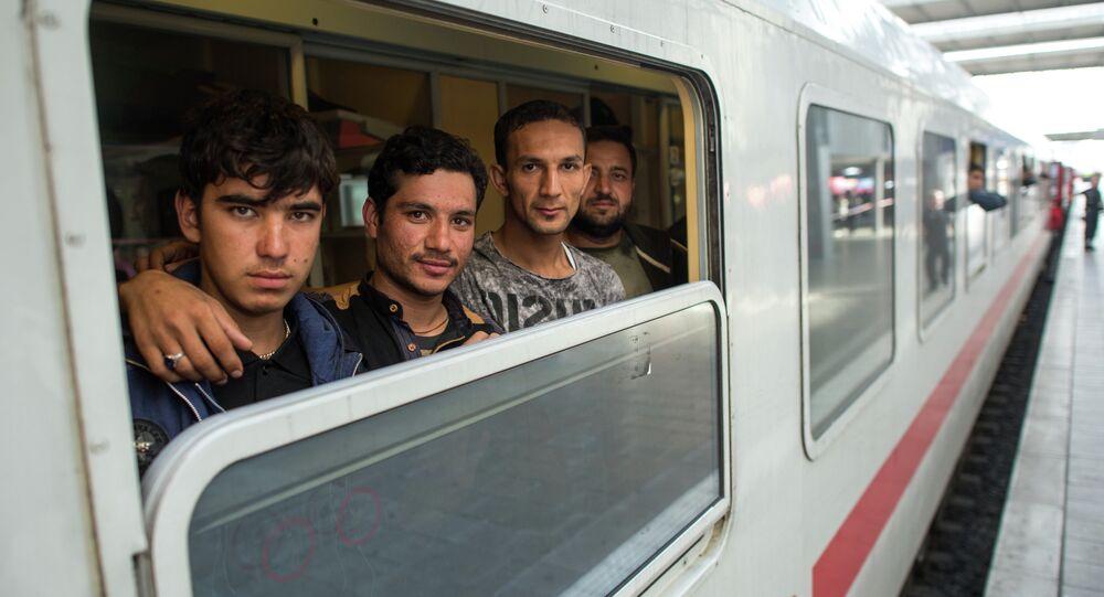 Uprchlíci ve vlaku v Mnichově