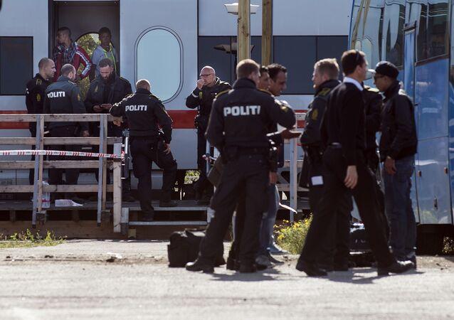 Registrace uprchlíků na dánsko-německé hranici