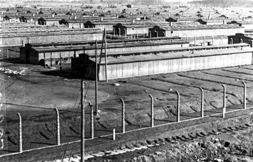 Budovy koncentračního tábora Osvětim, leden 1945