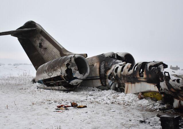 Trosky amerického vojenského letadla, které havarovalo v afghánské provincii Ghazní. 27 ledna 2020