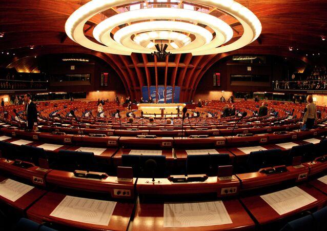 Celkový pohled na plenární sál Rady Evropy ve Štrasburku