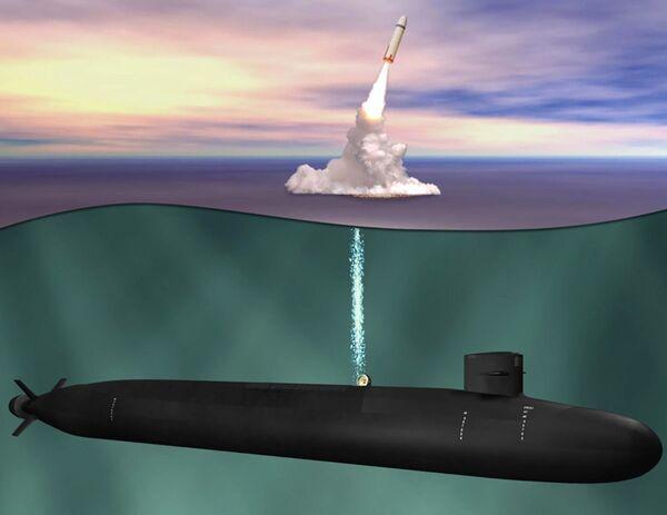 Ilustrace budoucí americké ponorky třídy Columbia, která má nahradit třídu Ohio. - Sputnik Česká republika