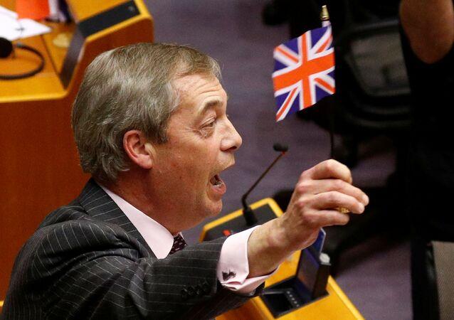 Lídr Strany pro brexit Nigel Farage na plenárním zasedání Evropského parlamentu v Bruselu