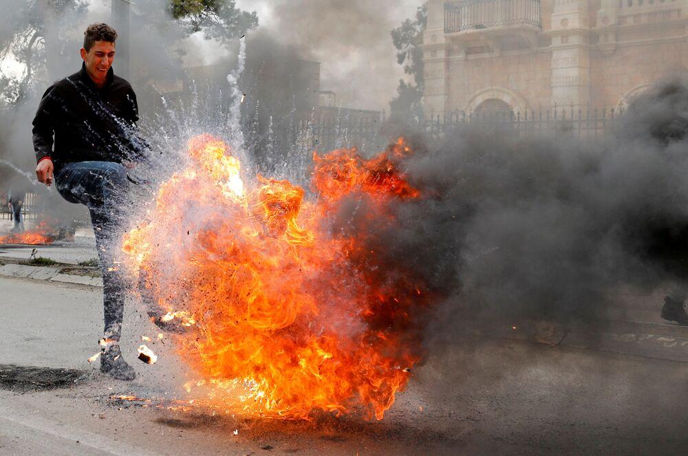 Demonstranti na protestech v Betlémě