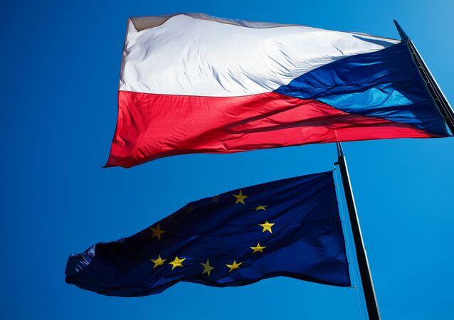 Vlajky EU a České republiky