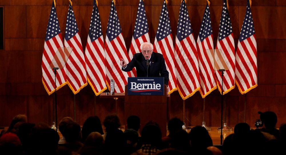 Kandidát v prezidentských primárkách Demokratické strany před volbami prezidenta USA 2020 Bernie Sanders