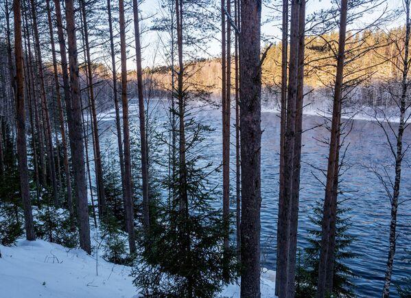 """Břeh řeky Šuja na území turistického komplexu """"Karjala park"""" v Karelské republice v Rusku - Sputnik Česká republika"""