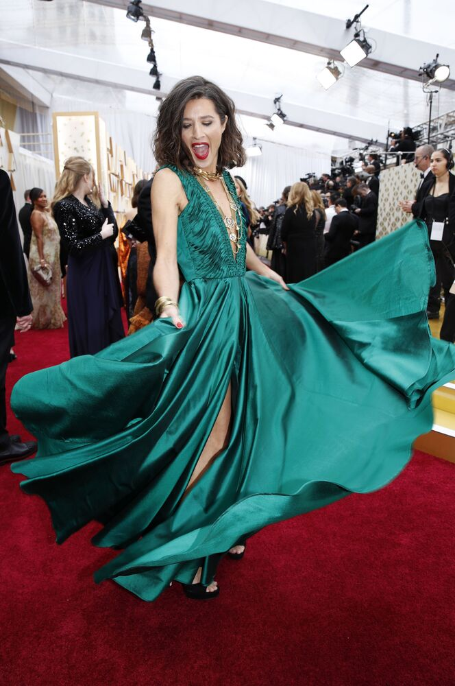 Producentka filmů Chelsea Winstanleyová na červeném koberci. Udělování Oscara 2020 v Los Angeles, USA.