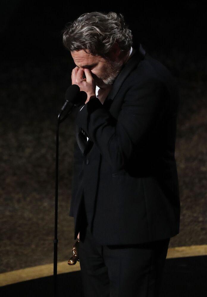 Joaquin Phoenix. Udělování Oscara 2020 v Los Angeles, USA.