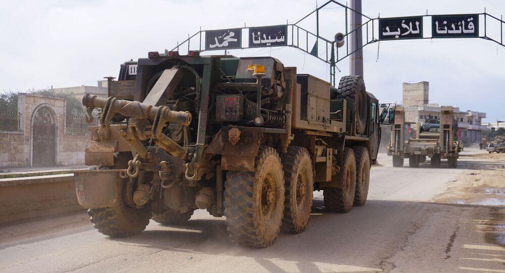 Turecký konvoj v syrské provincii Idlib