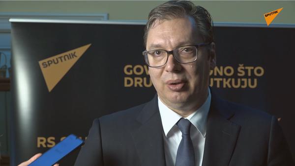 Srbský prezident Aleksandar Vučić gratuluje rádiu Sputnik - Sputnik Česká republika