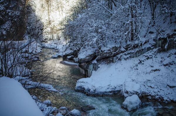 Řeka Kurdžips v Apšeronské oblasti Krasnodarského kraje, Rusko. - Sputnik Česká republika