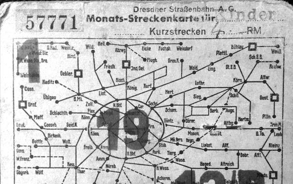 Straßenbahn-Monatskarte mit Bild (1944/45). Zadní strana. Privatdokument - Sputnik Česká republika