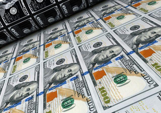 Tiskařský lis s dolary