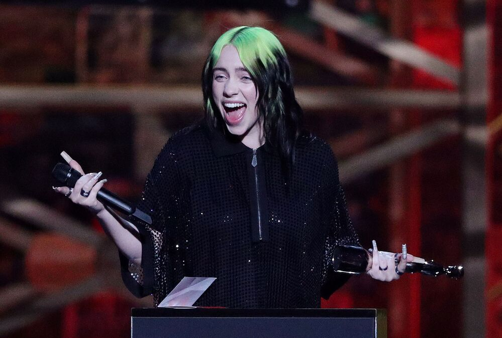 Zpěváčka Billie Eilish na Brit Awards 2020