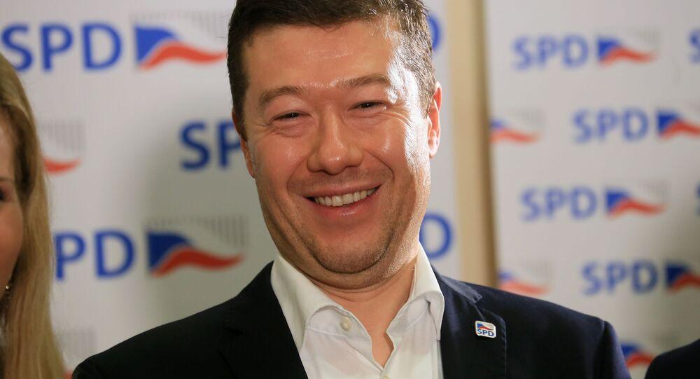 Šéf SPD Tomio Okamura.