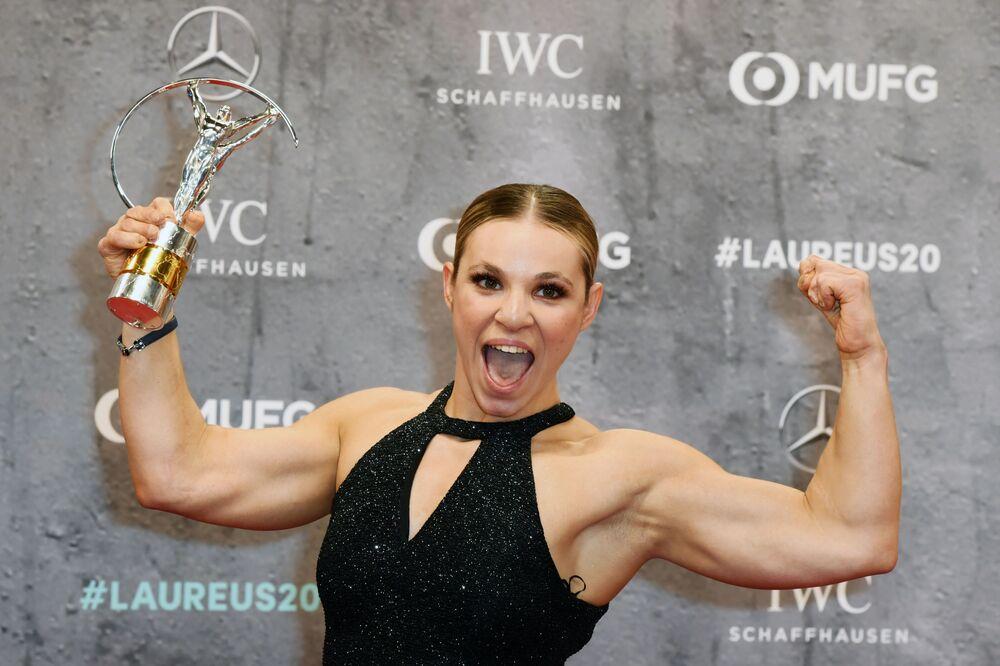 Oksana Masters po získání ceny Laureus World Sports Awards 2020 v nominaci Sportovec roku se zdravotním postižením
