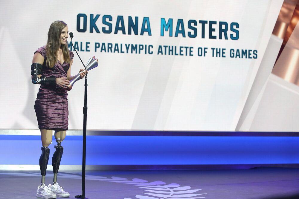 Oksana Masters na slavnostním předávání cen Female Paralympic Athlete of Games