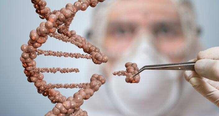 Vědec odstraňuje část řetězce DNA