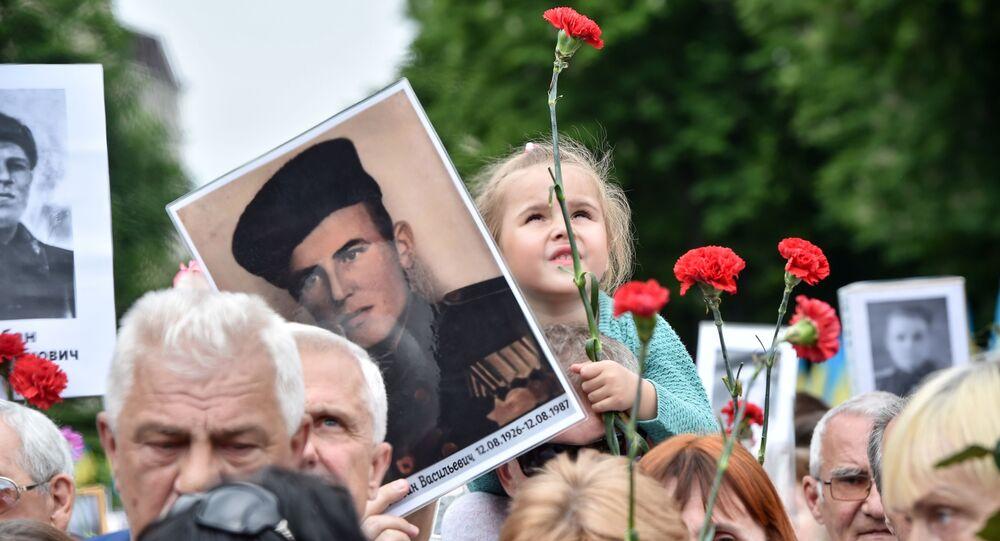 Účastníci akce Nesmrtelný pluk v Kyjevě