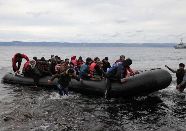 Migranti na ostrově Lesbos