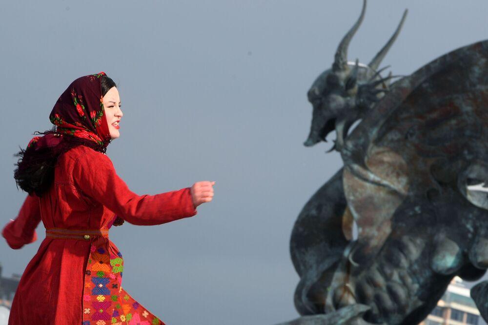 Oslavy Maslenice v Kazani.