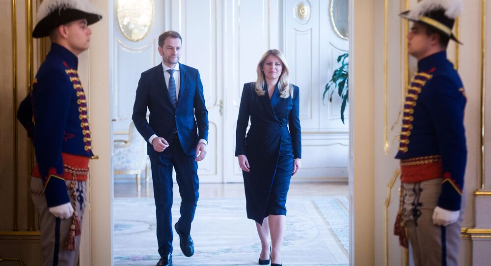 Slovenská prezidentka Zuzana Čaputová s  lídrem vítězného v parlamentních volbách hnutí OĽaNO Igorem Matovičem