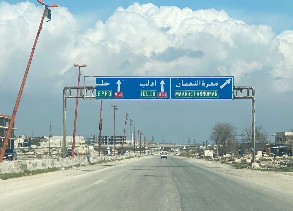 Dálnice M5 spojující Damašek a Aleppo u města Ma'arat an-Numán v provincii Idlib.