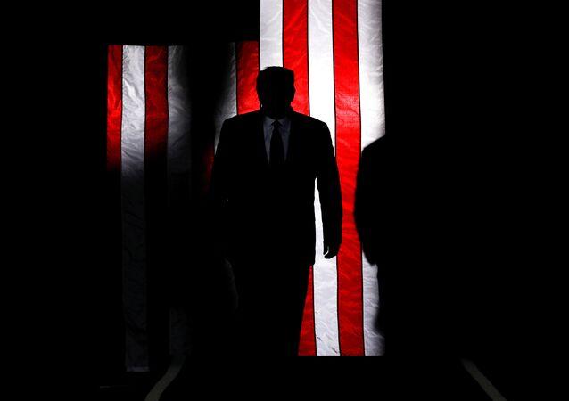 Americký prezident Donald Trump na pozadí americké vlajky