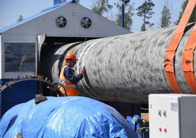 Stavba plynovodu Nord Stream 2 v Leningradské oblasti