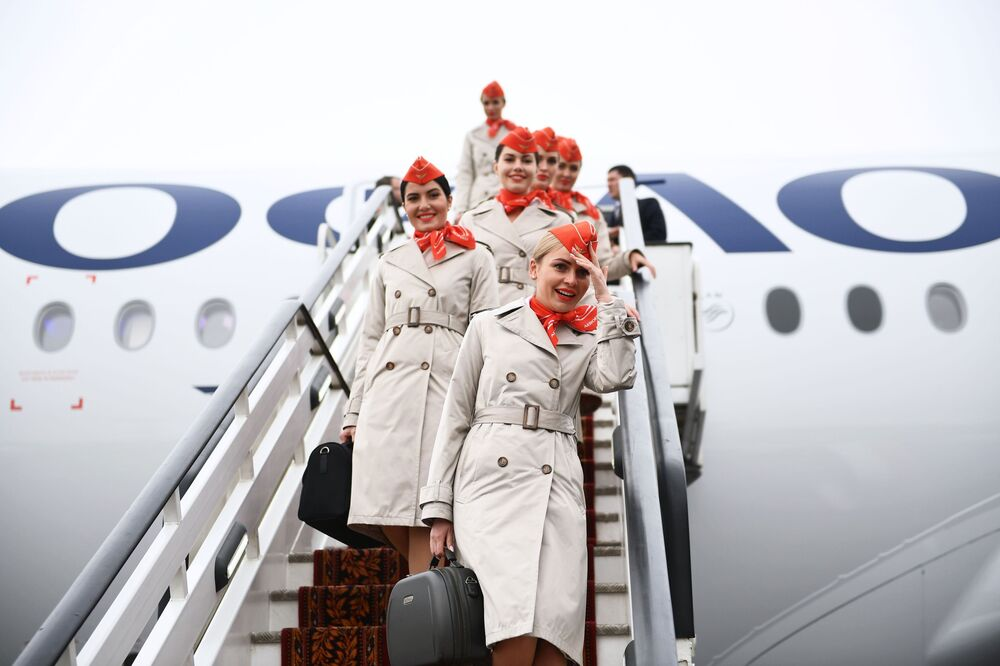Prezentace letadla Airbus A350 na moskevském letišti Šeremeťjevo.