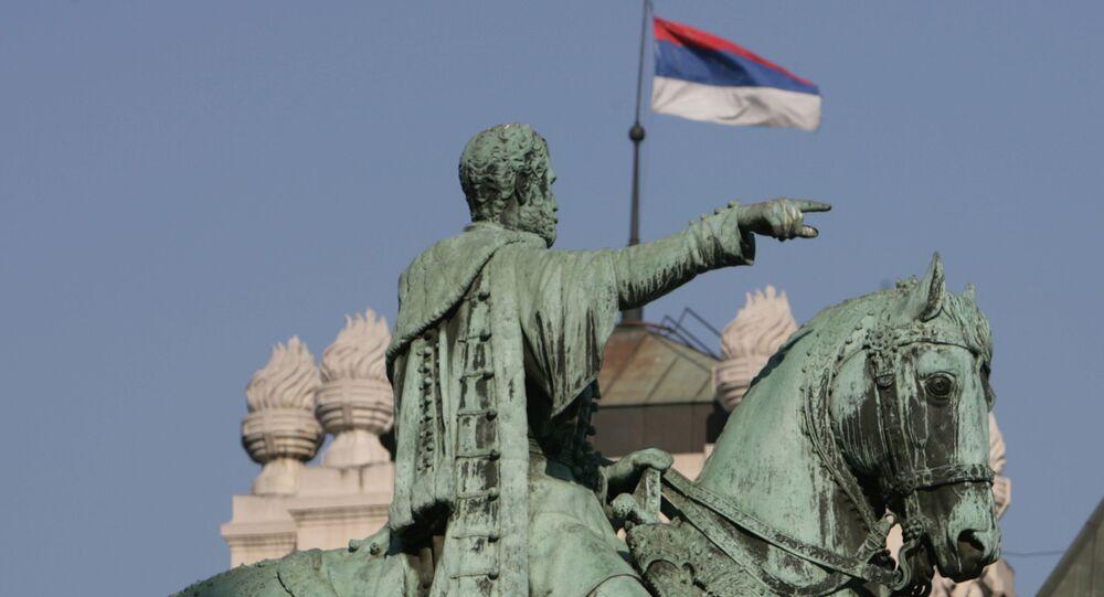 Památník knížete Mihajla Obrenoviće III. na Náměstí republiky v Bělehradě