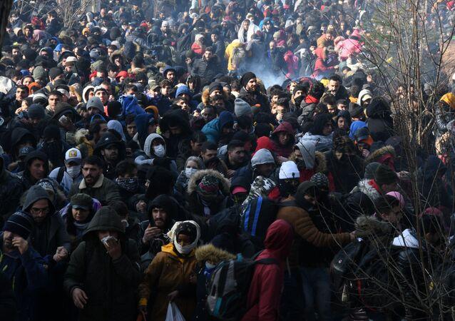 Migranti na hranici mezi Tureckem i Řeckem