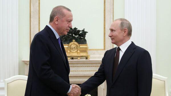 Recep Tayyip Erdogan a Vladimir Putin - Sputnik Česká republika