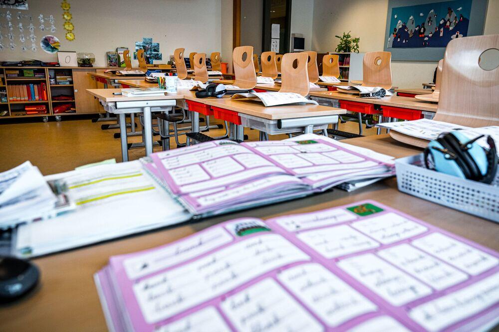 Prázdná třída na základní škole v Nizozemsku