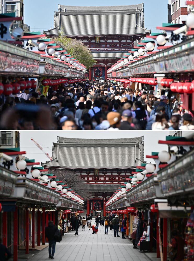 Návštěvníci antického chrámu Sensō-ji v Tokiu v roce 2019 a prázdný chrám v březnu roku 2020