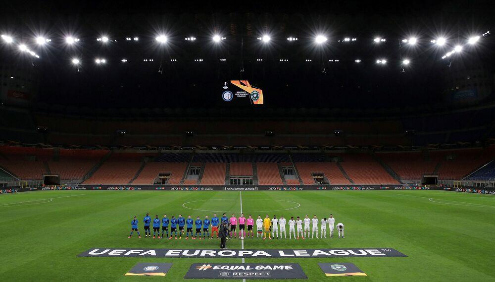 Prázdný stadion San Siro ve městě Milán během zápasu v rámci Ligy Evropy mezi kluby FC Inter Milán a PFK Ludogorec Razgrad