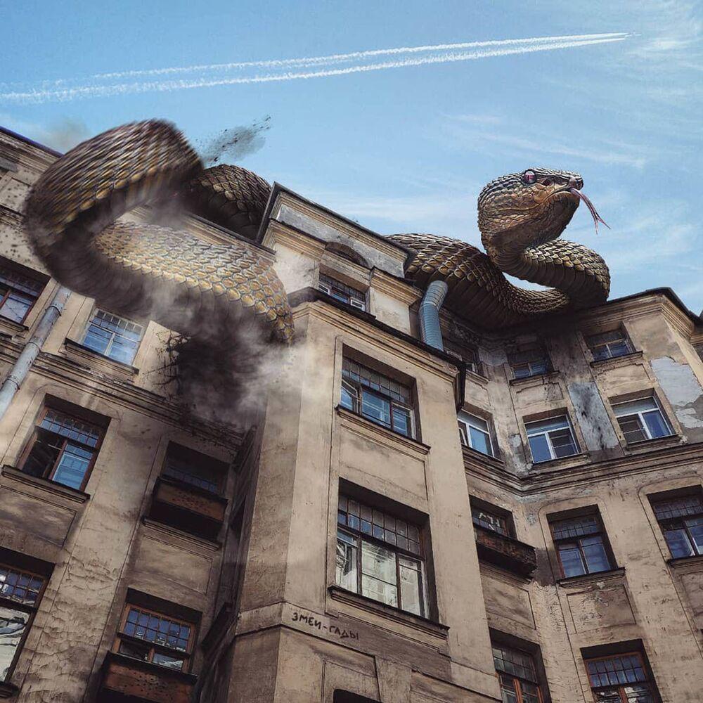 Umělecké pojetí fotografie Vadima Solovjeva: Obří had na jedné z budov v Petrohradu