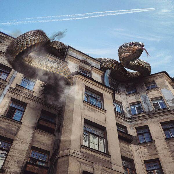 Umělecké pojetí fotografie Vadima Solovjeva: Obří had na jedné z budov v Petrohradu - Sputnik Česká republika