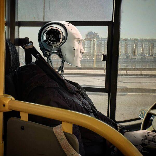 Umělecké pojetí fotografie Vadima Solovjeva: Robot jako řidič autobusu - Sputnik Česká republika
