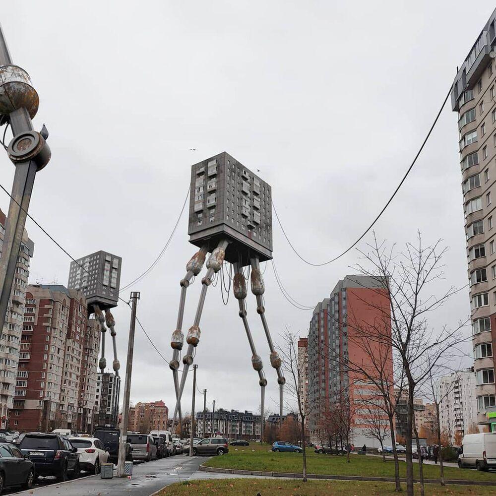 Umělecké pojetí fotografie Vadima Solovjeva: Obytná budova na nohách