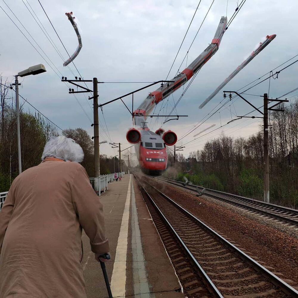 Umělecké pojetí fotografie Vadima Solovjeva: Létající vlak v Petrohradu