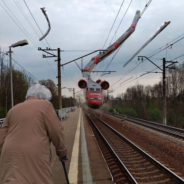 Umělecké pojetí fotografie Vadima Solovjeva: Létající vlak v Petrohradu - Sputnik Česká republika