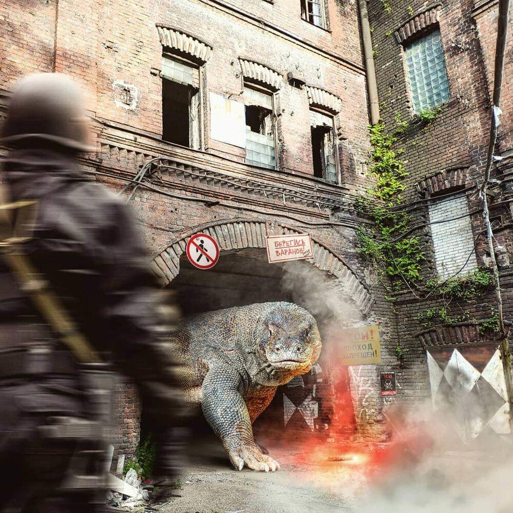 Umělecké pojetí fotografie Vadima Solovjeva: Varan na jedné z ulic Petrohradu
