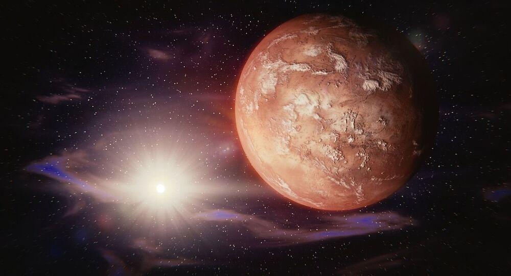 Planeta na pozadí hvězdy