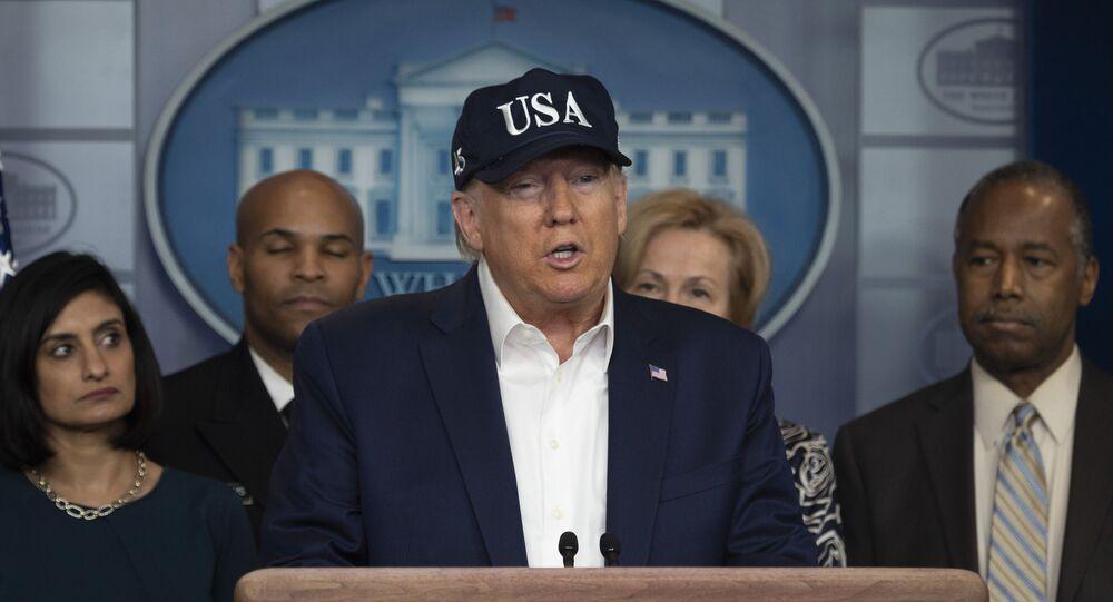 Americký prezident Donald Trump během brifingu o situaci s koronavirem v USA