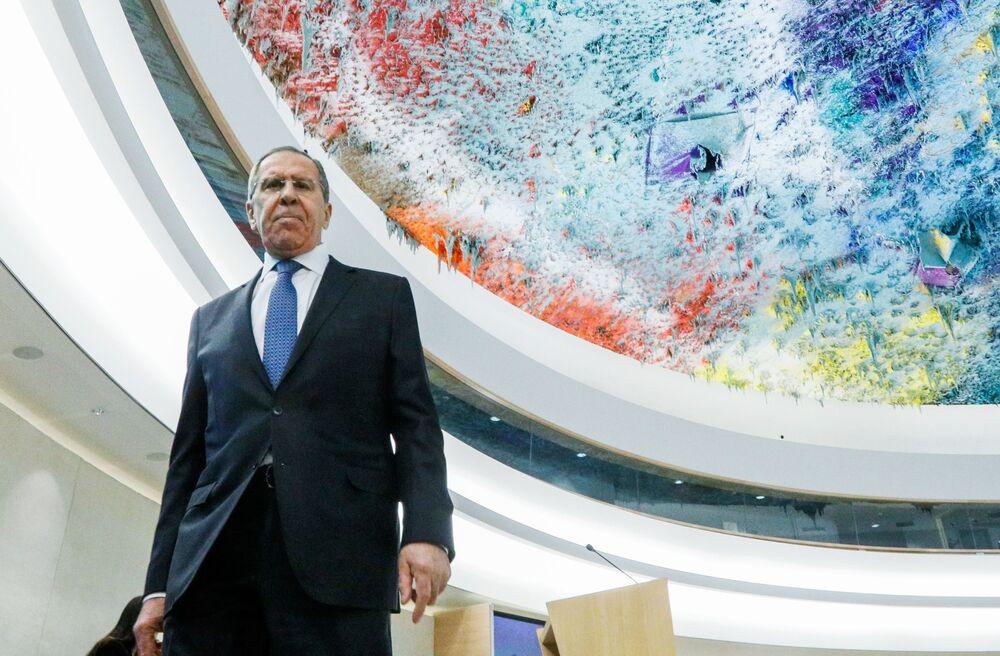 Ruský ministr zahraničí Sergej Lavrov na zasedání Rady OSN pro lidská práva