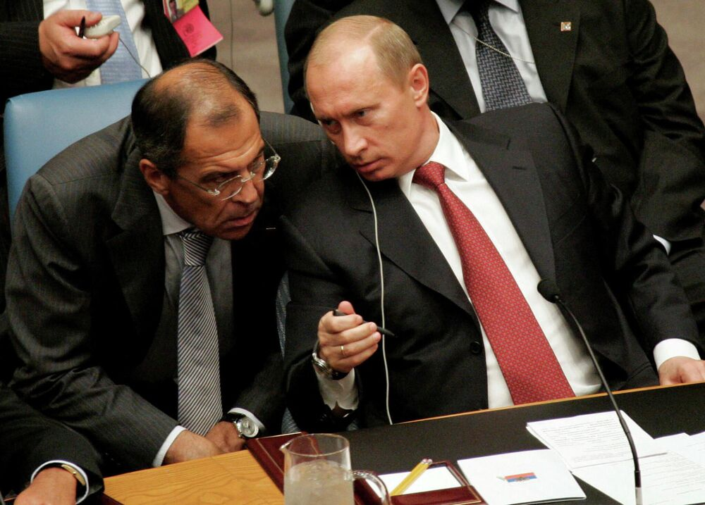 Ruský prezident Vladimir Putin a ruský ministr zahraničí Sergej Lavrov na zasedání Rady bezpečnosti OSN v New Yorku
