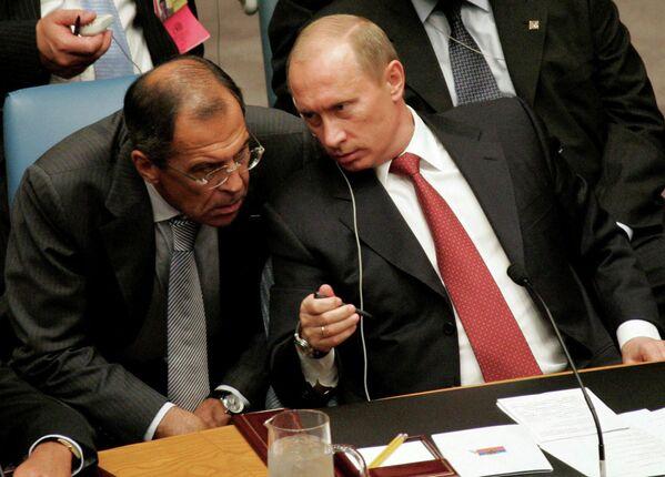 Ruský prezident Vladimir Putin a ruský ministr zahraničí Sergej Lavrov na zasedání Rady bezpečnosti OSN v New Yorku - Sputnik Česká republika